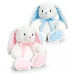 Keel Toys, Бебешко зайче, бяло с точки