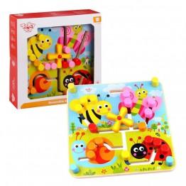 Tooky Toy, Дървен лабиринт с две лица, Форми, животни и цветове