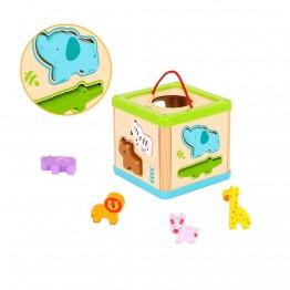 Tooky Toy, Дидактически дървен куб, Сортер с животни