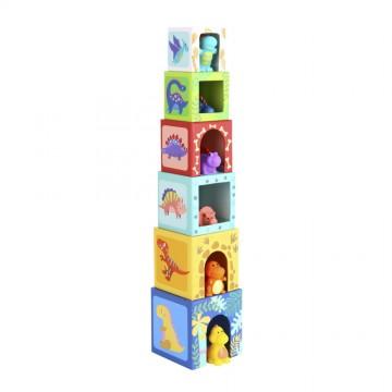 Кула от картонени кубчета с фигури, Динозаври